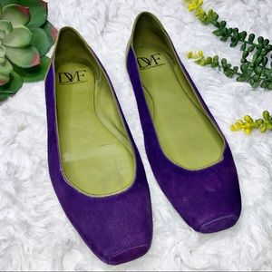 Diane vonFurstenberg Purple Square Toe Ballet Flat